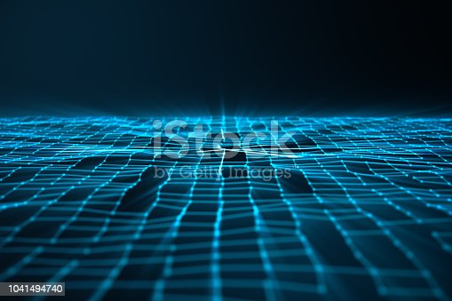 istock Abstract background of lines and dots, low poly mesh. Internet connections technology. Concept of neural connections transmitting signals between artificial neural connections. 3D illustration 1041494740
