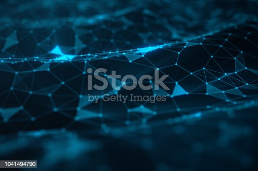 941338268istockphoto Abstract background of lines and dots, low poly mesh. Internet connections technology. Concept of neural connections transmitting signals between artificial neural connections, 3D illustration 1041494790