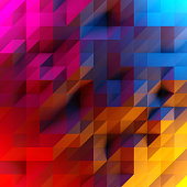 Abstract background of low poly triangles. 3D render image. Red, purple, orange and blue lighting.