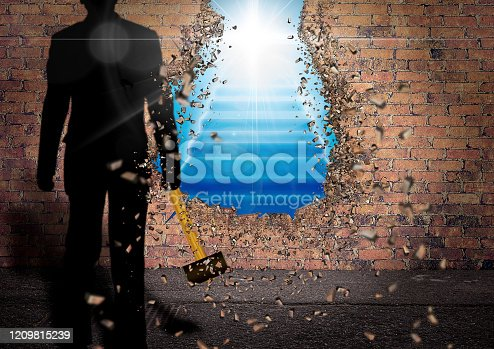 Abstract background of man destroying wall with hammer