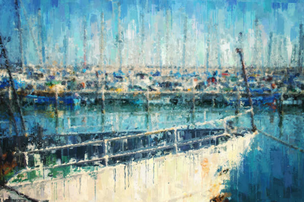 abstract background of marina with boat. oil painting style. - impressionist painting stock photos and pictures