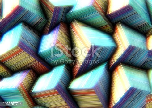 486534722istockphoto Abstract background of multi-colored cubes 1195757714