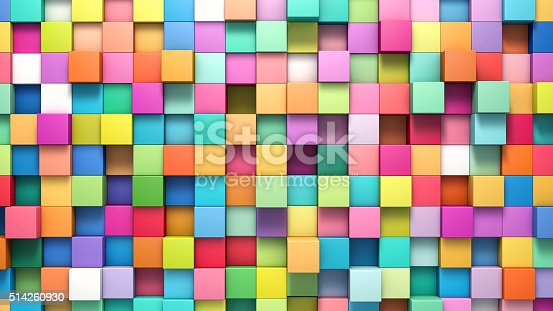 istock Abstract background of multi-colored cubes 514260930