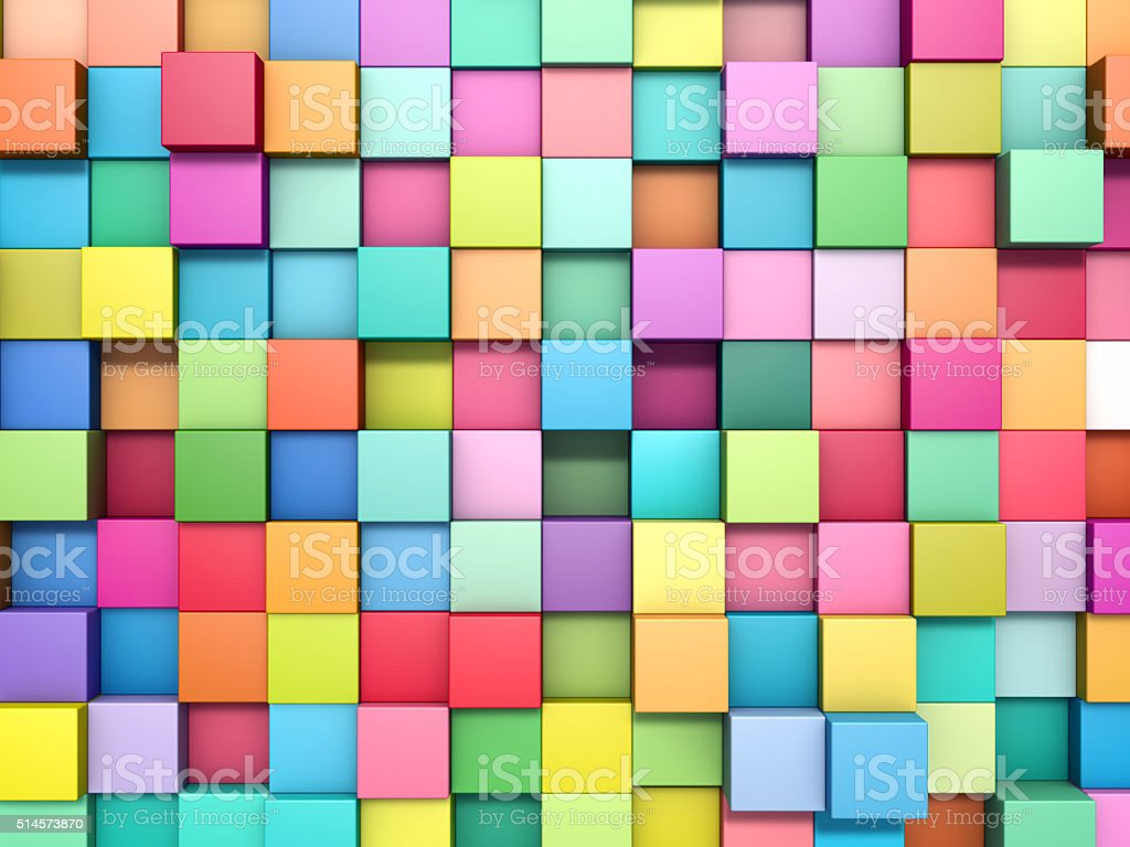 abstract background of multicolored cubes stock photo