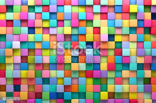 istock Abstract background of multi-colored cubes 627201370