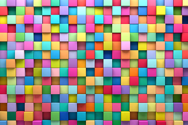 abstract background of multi-colored cubes - multi colored stock pictures, royalty-free photos & images