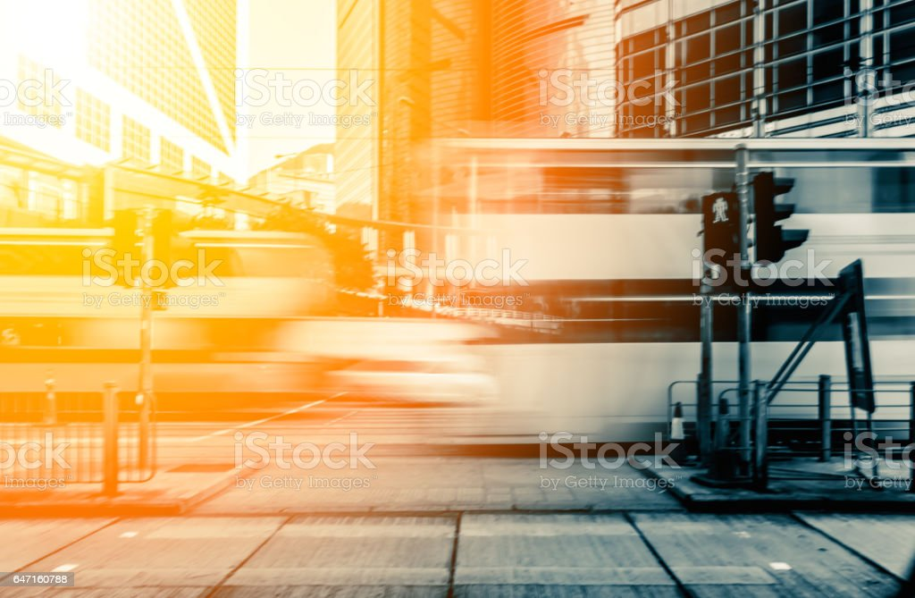 Abstract background of people on the street with sunlight stock photo