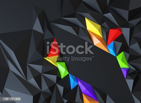 Abstract background of polygons on Black background