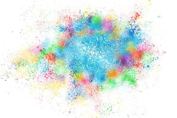 abstract background of powder explosion - abstract multicolored powder explosion stock photos and pictures