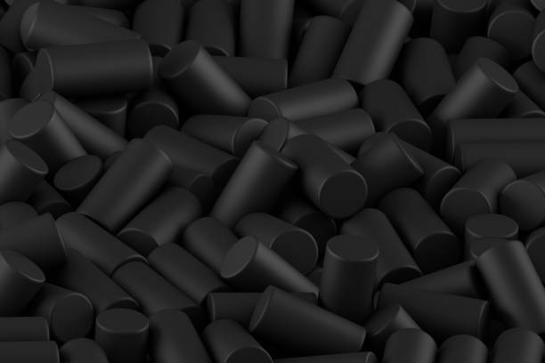 Abstract background of randomly arranged matte cylinders of black. 3d rendering stock photo