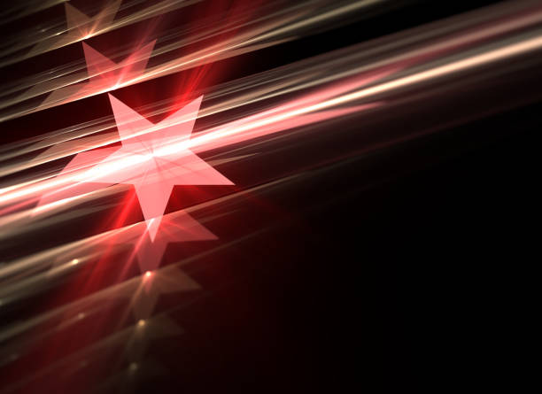 abstract background of red stars and design shapes with depth of field - award stock photos and pictures