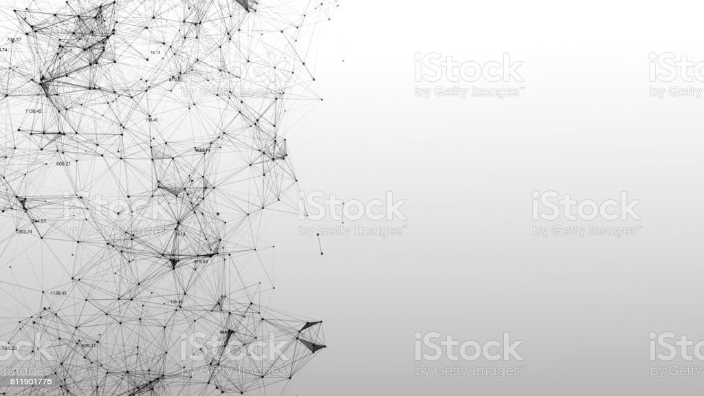 Abstract background of scientific plexuses and figures stock photo