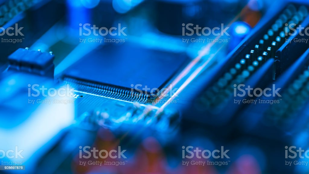 Abstract background of selective focused of electronic part on the electronic circuit board, Education and industrial concept use. royalty-free stock photo