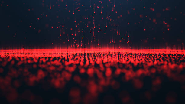 Abstract background of shining particles. Digital signature with wave particles, sparkle. Beautiful red floating particles with shine light rise up. 3D Rendering stock photo