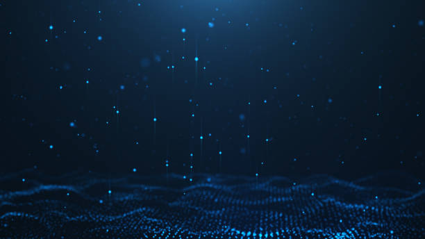 Abstract background of shining particles. Digital signature with wave particles, sparkle. Beautiful blue floating particles with shine light rise up. 3D Rendering stock photo