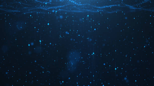 Abstract background of shining particles, digital sparkling blue particles. Beautiful blue floating particles with shine light. 3D Rendering stock photo