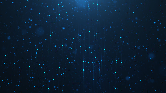istock Abstract background of shining particles, digital sparkling blue particles. Beautiful blue floating particles with shine light. 3D Rendering 1166376707