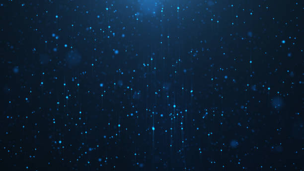abstract background of shining particles, digital sparkling blue particles. beautiful blue floating particles with shine light. 3d rendering - cząstka zdjęcia i obrazy z banku zdjęć