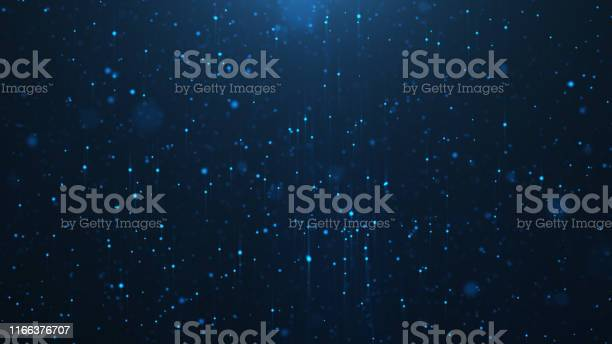 Photo of Abstract background of shining particles, digital sparkling blue particles. Beautiful blue floating particles with shine light. 3D Rendering
