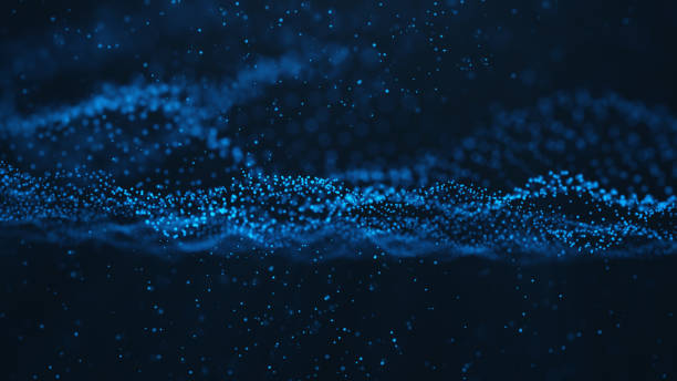 Abstract background of shining particles, digital wave, sparkling blue particles. Beautiful blue floating particles with shine light. 3D Rendering stock photo