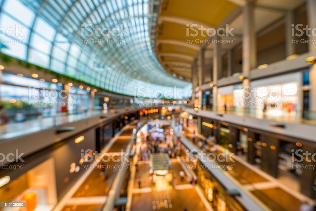 Abstract background of shopping mall, shallow depth of focus stock photo