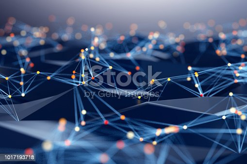 istock Abstract background of spheres and wire-frame landscape 1017193718