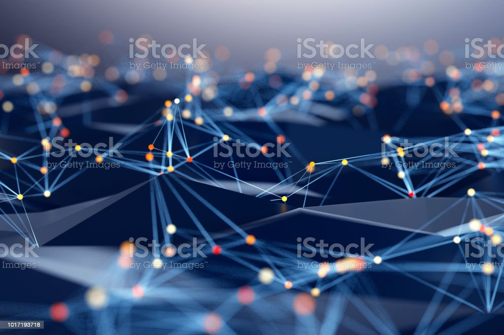 Abstract background of spheres and wire-frame landscape stock photo