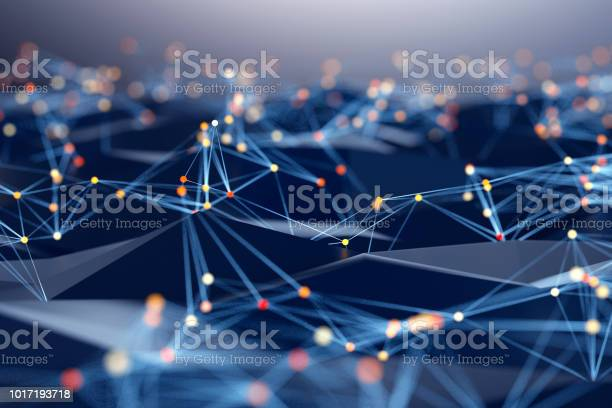 Photo of Abstract background of spheres and wire-frame landscape