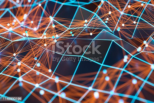 istock Abstract background of spheres and wire-frame landscape 1145930199