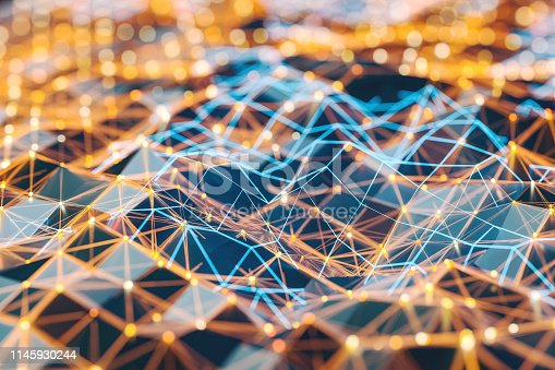 istock Abstract background of spheres and wire-frame landscape 1145930244