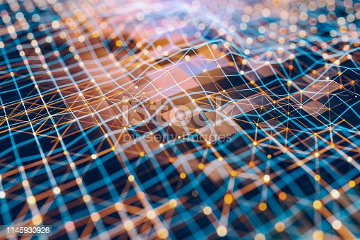 1017193718istockphoto Abstract background of spheres and wire-frame landscape 1145930926