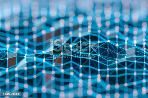 istock Abstract background of spheres and wire-frame landscape 1145930993