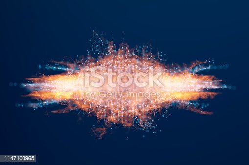 istock Abstract background of spheres and wire-frame landscape 1147103965