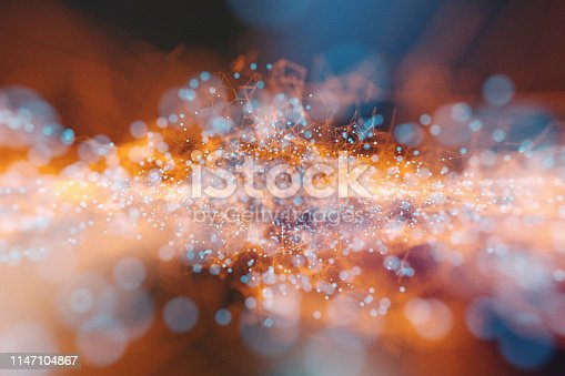 istock Abstract background of spheres and wire-frame landscape 1147104867