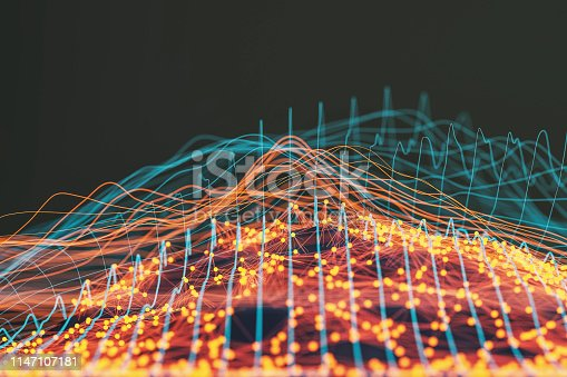 istock Abstract background of spheres and wire-frame landscape 1147107181