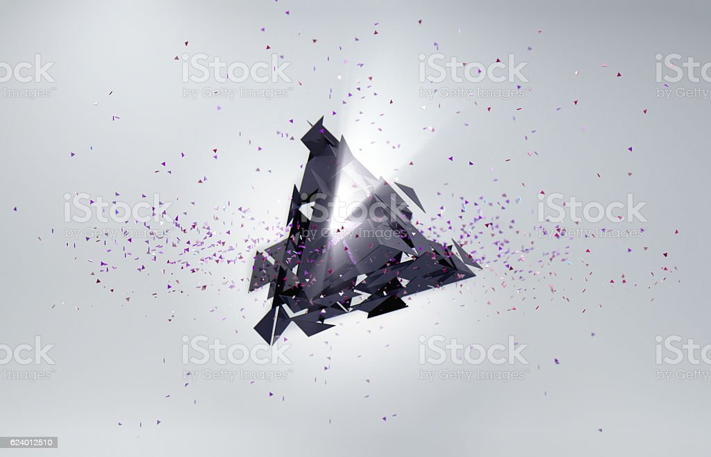 Abstract background. Particles in space, broken triangle and light. stock photo