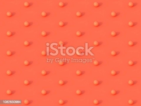 istock Abstract background pattern of coral spheres on coral background. 3d rendering. Coral living balls texture. 1082830984