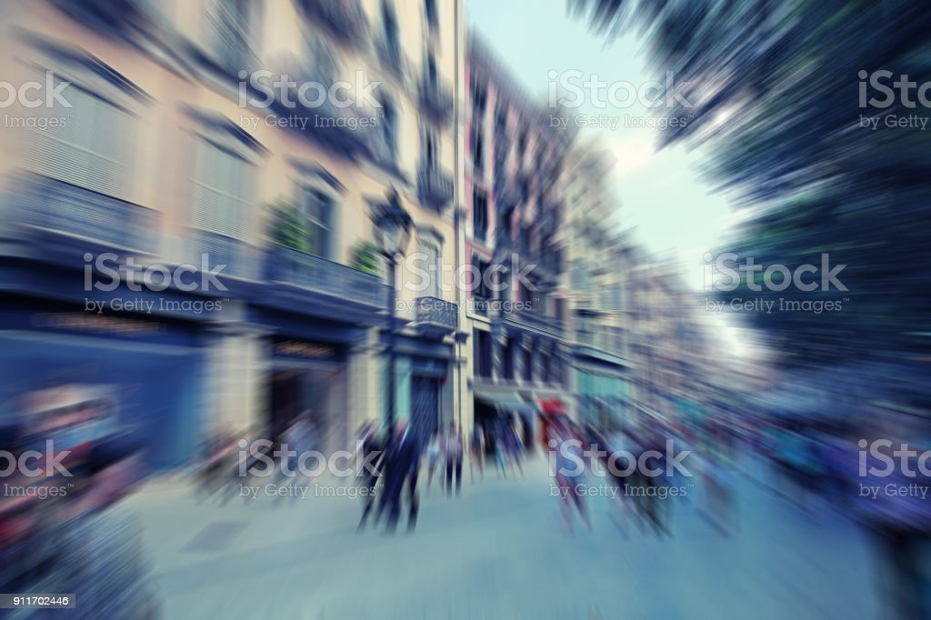 Abstract Background Pedestrians Walking Rush Hour In Barcelona Spain Radial Zoom Blur Effect Defocusing Filter Applied With Vintage Instagram Look Stock Photo Download Image Now Istock