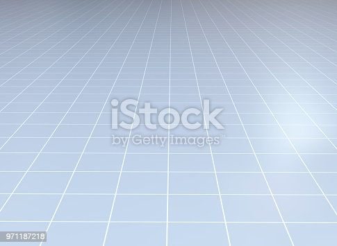 istock Abstract background. Perspective tiled floor. 971187218