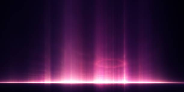 Abstract background - pillars of light rising from a distant horizon stock photo