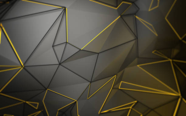 3D abstract background render with triangle polygon shapes in gray and yellow stock photo