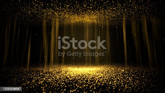 846933050 istock photo Abstract background shining golden floor ground particles stars dust. 1200538587