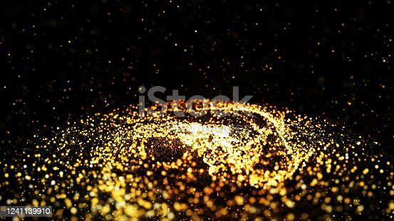 846933050 istock photo Abstract background shining golden floor ground particles stars dust. Futuristic glittering in space on black background. texture blurred. 1241139910
