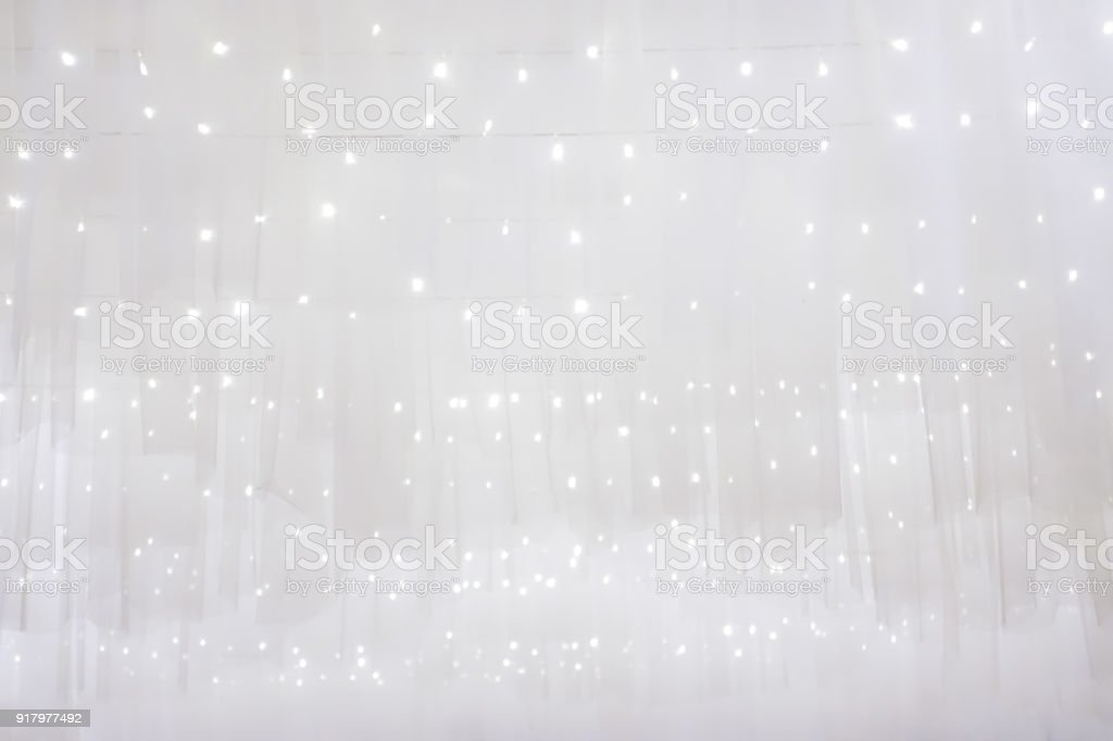 Abstract background soft white fabric clean for the wedding or Christmas with light bokeh gently stock photo