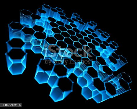 Three-dimensional mesh of lines and dots in abstract form in technology concept. Image to use as background.