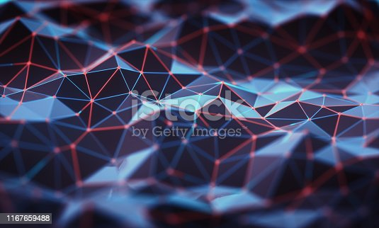 Three-dimensional mesh of lines and dots in abstract form in technology concept. Image to use as background. 3D illustration.