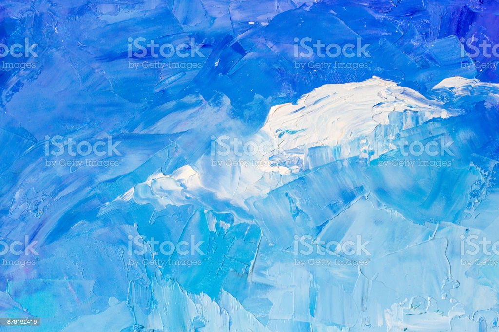 Abstract background texture in blue colours in the form of a cloud in the sky, brush strokes with oil paints on canvas stock photo