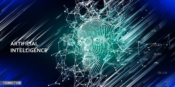 istock Abstract background with  3d grid face. AI. Artificial intelligence concept with lens effect. Abstract digital grid human face. 1208627106