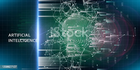 istock Abstract background with  3d grid face. Artificial intelligence concept with blurred lines. Abstract digital grid human face. AI. 1208627127