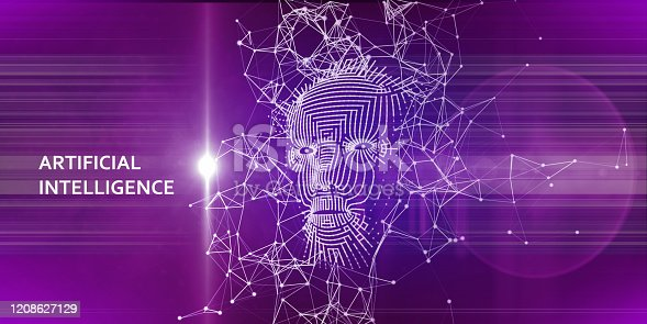 istock Abstract background with  3d grid face. Artificial intelligence concept with lens effect.  AI.  Abstract digital grid human face. 1208627129